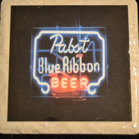Coaster Pabst Blue Ribbon Beer Neon by TheCoasterMan on Etsy