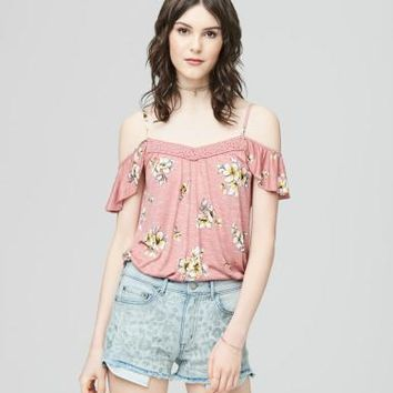 Cape Juby Large Floral Ruffled Cold Shoulder Top - Aeropostale