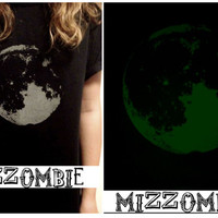 FULL MOON glow in the dark Tshirt  mizzombie grunge unisex