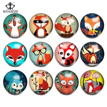 RoyalBeier 12pcs/lot Cute Catroon Fox Mixed Glass Charms 18mm Snap Button For 20mm Snap Bracelet Snap Jewelry