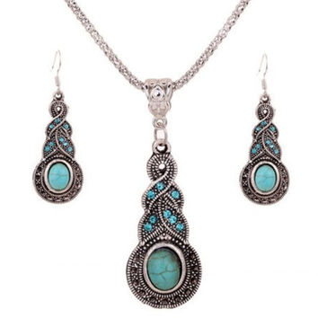 cheap Vintage Jewelry Tibetan Silver Turquoise Rhinestone Earring Dangle Necklace Set = 1946370116