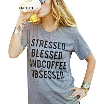 Stressed Blessed And Coffee Obsessed T-Shirts - Ladies Crew Neck Novelty Tee