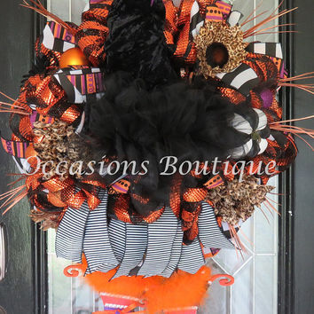 Witch Wreath, Halloween Wreath, Halloween Decoration, Fall Wreaths, XL Wreath, Double door wreath, Front door wreaths