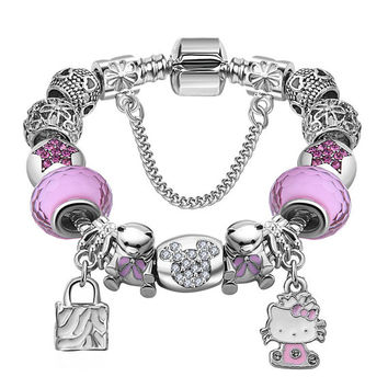 Pink & Blue Beads Kitty Charm Bracelet Bangles Cute Jewelry For Women Girls