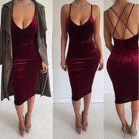 3 colors women velvet back zipper double lined cross tank dress 2016 autumn winter sexy club elegant vestido de festa robe XD507