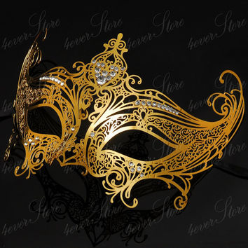 Gold Mask - Gossip Girl Serena Masquerade Mask w/ Diamonds Limited Edition by 4everstore