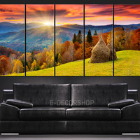 Colorful Autumn and Mountains Sunset Canvas Print  Ready to Hang 5 Panels Stretched on Deep 3cm Frame
