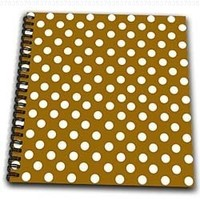 InspirationzStore Polka Dot Designs - White Polka Dots on Chocolate Brown - Retro elegant ladylike dot pattern - Drawing Book 8 x 8 inch (db_56696_1)