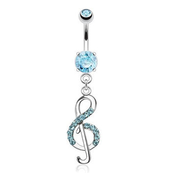Treble Clef Music Note with Paved Cz's 14g Navel Dangle Belly Button Ring (Aqua)
