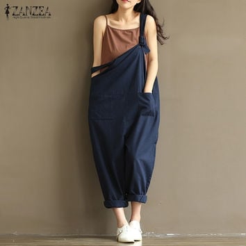 ZANZEA 2016 Casual Rompers Womens Jumpsuits Vintage Sleeveless Backless Casual Loose Solid Overalls Vintage Strapless Paysuits