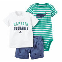 Summer baby boy Rompers clothing Set   3pcs