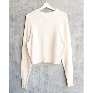 Free People - Too Good Ribbed Trim Pullover Sweater - White