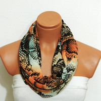 very sexy...Infinity Scarf,Loop Scarf,Circle Scarf, snakeskin, chiffon fabric Scarf,Cowl Scarf,Nomad Cowl..Black, White, Red, Eternity Scarf