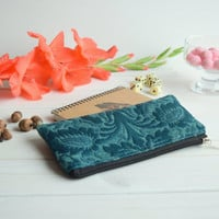 Teal pencil case, Pencil Pouch, Cosmetic pouch, Make Up Pouch, Charger bag, Project bag, Travel bag, Bridesmaid gift, Bridal purse
