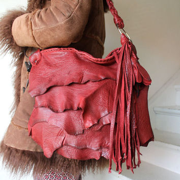 Burgundy red paprika leather raw edges distressed fringed bag fringe  tote hobo  asymmetrical  leather bag artisan fringe hobo handmade