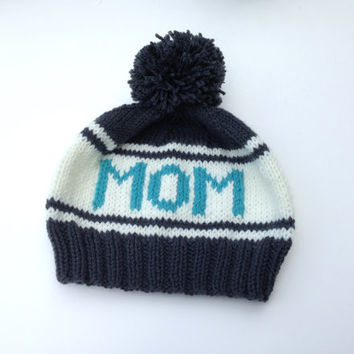 Mom Beanie, Retro Styled Pom Pom Beanie, Charcoal Grey Beanie for Sports Lovers, Ski Hat, Snowboard Beanie, Hand Knit Hat for Mothers Day