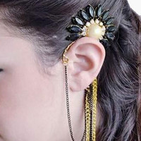 Floral Stone and Chain Lace Cuff Earring