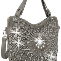 * Rhinestone Design Layered Handbag In Pewter