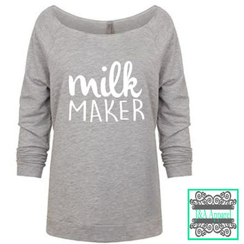 Breastfeeding Shirt - Milk Maker - Breastfeeding - Normalize Breastfeeding - Eat Local - Funny - Raw Edge 3/4-Sleeve Raglan