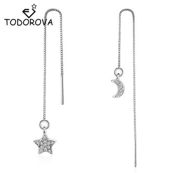 Todorova Silver Crystal Drop Earrings Star and Moon Long Chain Ear Wire Brincos Fashion Women Accessories Jewelry
