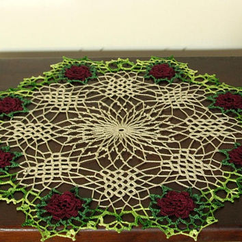 Shop Crochet Rose Doilies On Wanelo