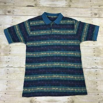 Vintage 90s Geometric Print Striped Polo Shirt Blue / Green / Purple Mens Size Medium