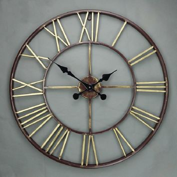 Iron Roman Numerical Wall Clock, 3D Animation.