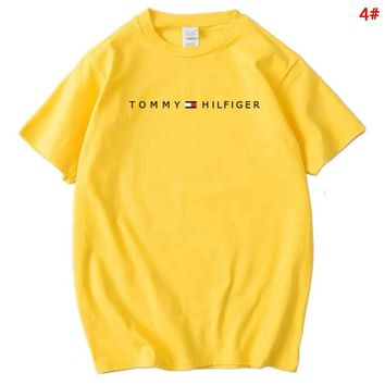 Tommy Fashion New Bust Letter Print Women Men Sports Leisure T-Shirt Top 4#
