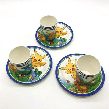 40Pcs  Go Theme Child Happy Birthday Party Disposable Cartoon Plate Cup Tableware Set Event Party Baby Shower Cup SupplyKawaii Pokemon go  AT_89_9