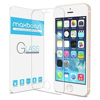 iPhone 5S Screen Protector, Maxboost® iPhone 5S / 5 / 5C Glass Screen Protector - [Tempered Glass] [0.2mm] Ballistics Glass, 99% Touch-screen Accurate - Clear
