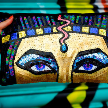 Elizabeth Taylor Sequin Clutch Bag Cleopatra Egyptian Inspired