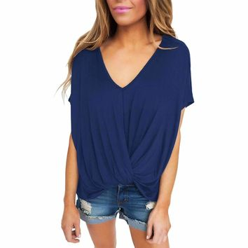 Blue Draped Front Knot Top