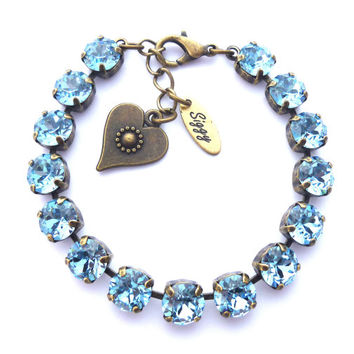 AQUA SHIMMER Swarovski crystal tennis bracelet, necklace and earrings aquamarine, 8mm light blue -Select-A-Finish- Siggy bling
