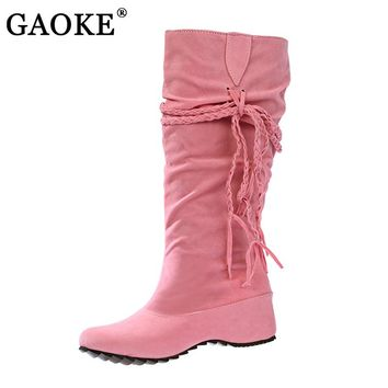 New Women Boots Autumn Winter Fringe Half Knee High Boots Ladies Tassel Fashion Shoes Woman Bota Feminina Plus Size 35-43