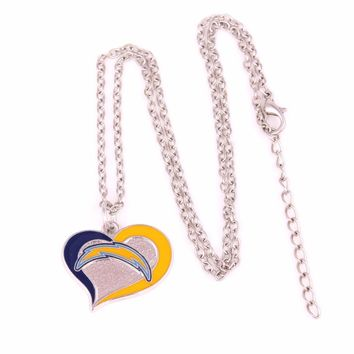 San Diego Chargers Drop shipping Enamel single-sided Swirl Heart Football team logo charm with link chain sports Necklace