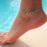 Silver Bow Anklet with Turquoise Beads by DeliBejeweled on Etsy