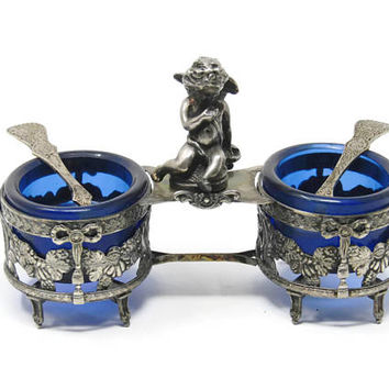 Antique Double Salt Cellar Cobalt Glass - Complete Cupid Salt Cellar - Cobalt Glass Master Salts - Vintage Serving -  Cherub Salt Cellar
