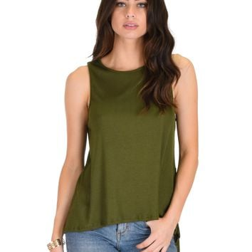 Lyss Loo My First Crush Ribbed Olive Top With Keyhole Back