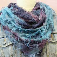 Butterfly fringe Tie Dye Hipster casual infinity scarf  eternity scarf for women fun casual trendy look Catherine Cole Studio scarves
