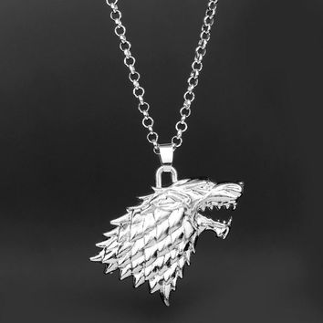 MQCHUN Fashion Wolf Head Chain Necklace Game of Thrones House Stark Direwolf Pendant Necklace Men Women Jewelry