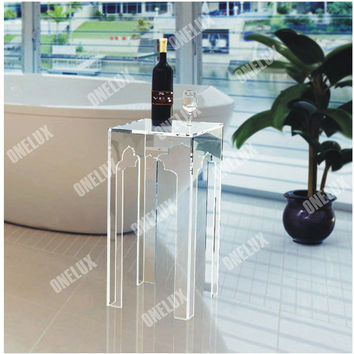 ONE LUX Plexiglass Contemporary bathroom side table,Lucite End Sofa Ocassional Tables