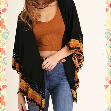 Crochet is the Only Way Open Poncho (black)