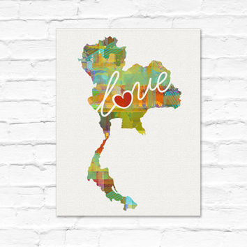 Thailand Love - An Unframed Watercolor-Style, Modern Wall Art Print. A Thoughtful Adoption, Vacation, Housewarming Gift (Free Shipping)