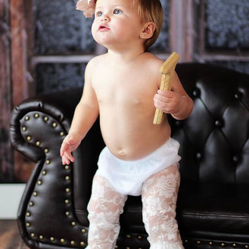 White Baby Lace Leggings - Girl 1st Birthday Outfit - Weddings - Babies, Toddlers & Little Girls - Ruffled Leg Warmers