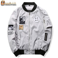 Grandwish 2016 New Men Bomber Jacket Hip Hop Patch Designs Slim Fit Pilot Bomber Jacket Coat Men Jackets Plus Size 4XL,PA573