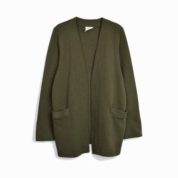 Vintage 90s Pine Green Duster Cardigan Sweater / Ribbed Sweater Coat - women's medium