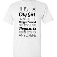 Just a City Girl Living in the Muggle World she took the Hogwarts Train Going Anywhere