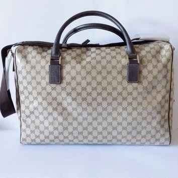NWT Gucci Crystal Canvas Guccissima Extra Large Boston Overnight Purse Bag