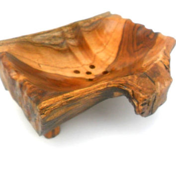"Wooden Soap Dish Rustic Driftwood Reclaimed Natural Teak wood Soap Dish Handmade Home Art Decor / Zen Art / Gift 6.5""X4.75""X2"""