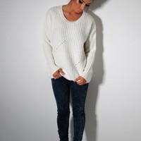 Ozone Cream Thick Cable Knit Jumper | Pink Boutique